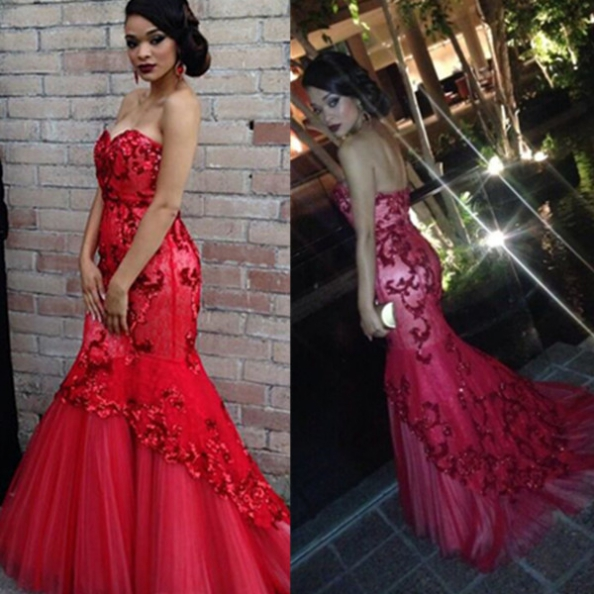 Red Beading Sweetheart Appliquues Mermaid Tulle Prom Dresses 2017