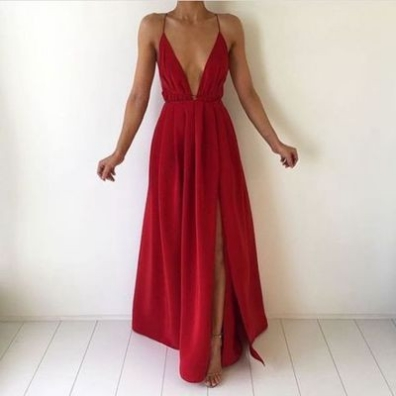 Red A-Line Sleeveless Natural Backless Floor-Length Chiffon Prom Dresses 2017