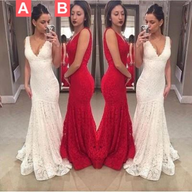 Trumpet/Mermaid V-Neck Sleeveless Natural Sweep/Brush Train Lace Prom Dresses 2017