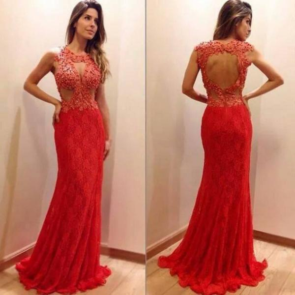 Red Sheath/Column Open Back Lace Prom Dresses 2017