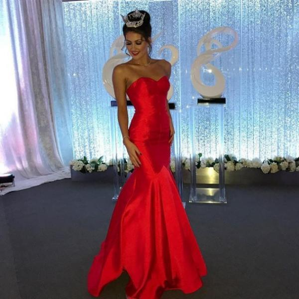 Red Sexy Sweetheart Mermaid Satin Prom Dresses 2017