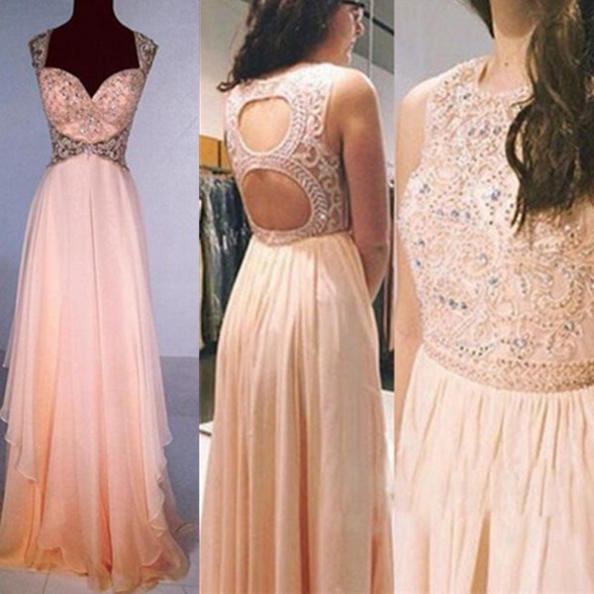 Long Backless A-Line Beading Chiffon Prom Dresses 2017