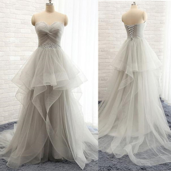 Long A-line Sweetheart Sweep Train Tiers Tulle Prom Dresses 2017