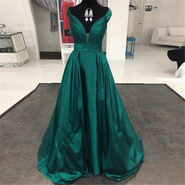 A-Line V-Neck Sleeveless Natural Zipper Sweep Train Satin Prom Dresses 2017
