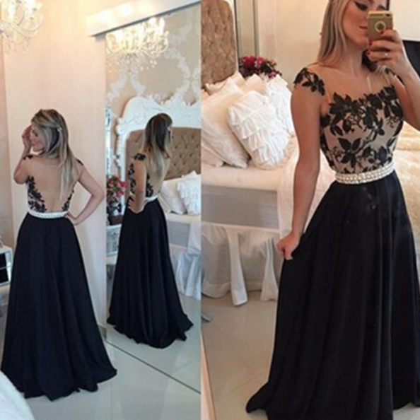 Black A-Line Straps Beading Backless Chiffon Prom Dresses 2017