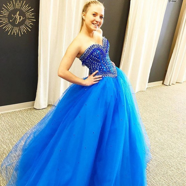Blue Prom Dresses 2017 Sweetheart Ball Gown Tulle