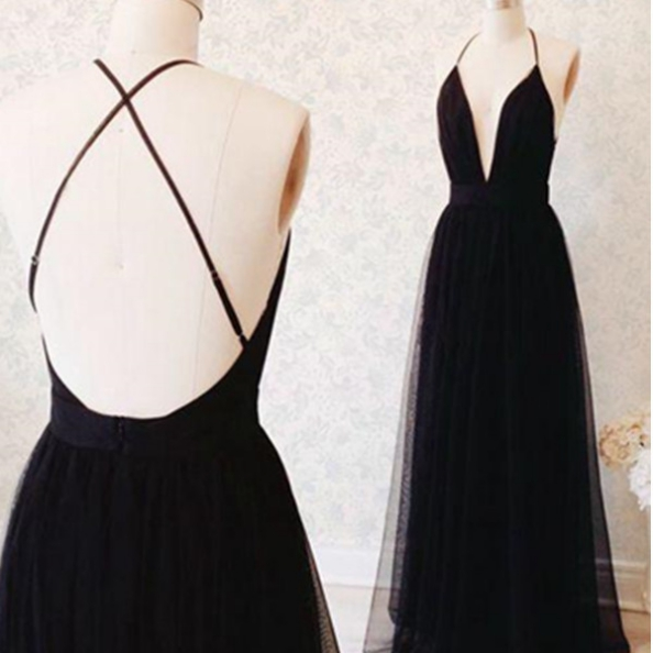Black A-Line Halter Sleeveless Natural Backless Floor-Length Tulle Prom Dresses 2017